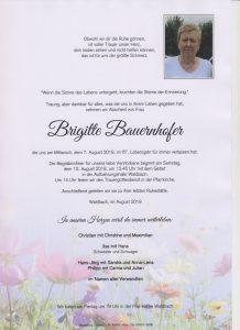 Parte Brigitte Bauernhofer Archiv Trauerfälle Bestattung Schweighofer