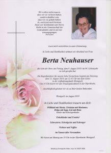 Parte Berta Neuhauser Archiv Trauerfälle Bestattung Schweighofer