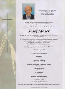 Parte Josef Moser Archiv Trauerfälle Bestattung Schweighofer
