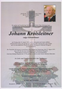 Parte Johann Kroisleitner Archiv Trauerfälle Bestattung Schweighofer