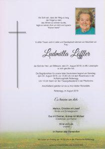 Parte Ludmilla Löffler Archiv Trauerfälle Bestattung Schweighofer