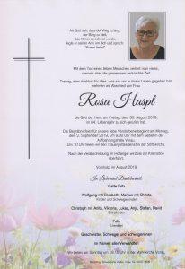 Parte Rosa Haspl Archiv Trauerfälle Bestattung Schweighofer