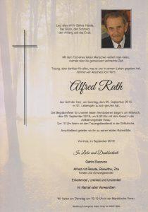 Parte Alfred Rath Archiv Trauerfälle Bestattung Schweighofer