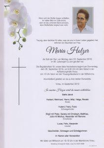 Parte Maria Holzer Archiv Trauerfälle Bestattung Schweighofer