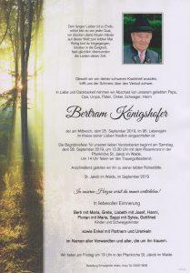 Parte Bertram Königshofer Archiv Trauerfälle Bestattung Schweighofer