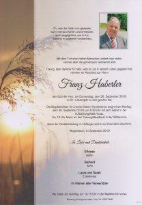 Parte Franz Haberler Archiv Trauerfälle Bestattung Schweighofer