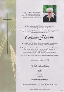 Parte Elfriede Haberler Archiv Trauerfälle Bestattung Schweighofer
