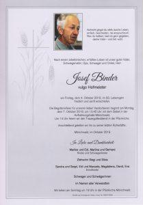 Parte Josef Binder Archiv Trauerfälle Bestattung Schweighofer