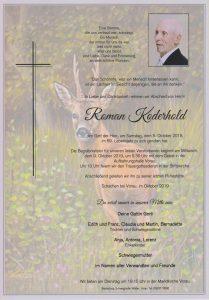 Parte Roman Koderhold Archiv Trauerfälle Bestattung Schweighofer