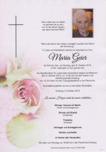 Parte Maria Geier Archiv Trauerfälle Bestattung Schweighofer