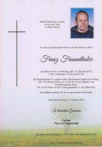 Parte Franz Frauenthaler Archiv Trauerfälle Bestattung Schweighofer