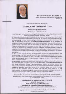 Schwester Rita Anna Kandlbauer Archiv Trauerfälle Bestattung Schweighofer