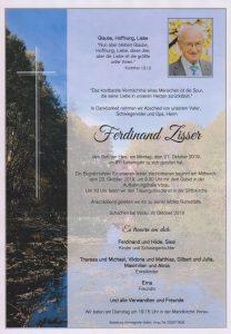Parte Ferdinand Zisser Archiv Trauerfälle Bestattung Schweighofer