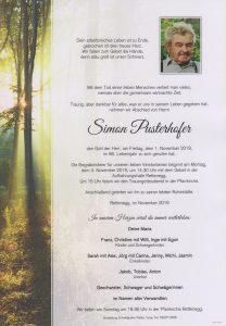 Parte Simon Pusterhofer Archiv Trauerfälle Bestattung Schweighofer