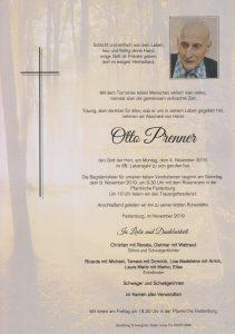 Parte Otto Prenner Archiv Trauerfälle Bestattung Schweighofer