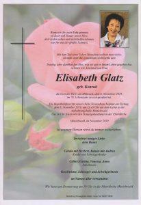 Parte Elisabeth Glatz Archiv Trauerfälle Bestattung Schweighofer