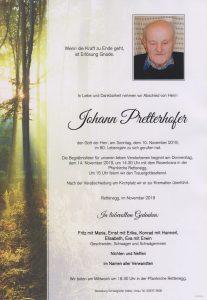 Parte Johann Pretterhofer Archiv Trauerfälle Bestattung Schweighofer