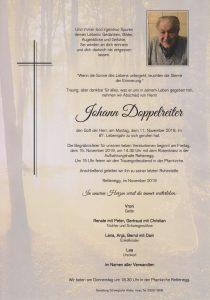 Parte Johann Doppelreiter Archiv Trauerfälle Bestattung Schweighofer