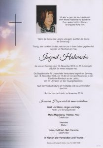 Parte Ingrid Halwachs Archiv Trauerfälle Bestattung Schweighofer