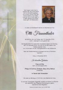 Parte Otti Frauenthaler Archiv Trauerfälle Bestattung Schweighofer