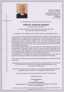 Parte Prälat Dr Johannes Gamperl Archiv Trauerfälle Bestattung Schweighofer