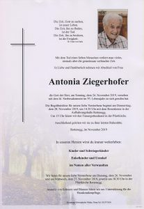 Parte Antonia Ziegerhofer Archiv Trauerfälle Bestattung Schweighofer