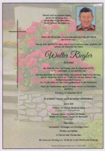 Parte Walter Riegler Archiv Trauerfälle Bestattung Schweighofer