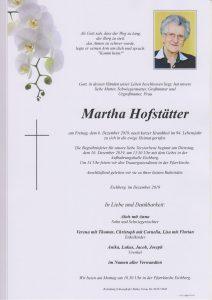 Parte Martha Hofstätter Archiv Trauerfälle Bestattung Schweighofer