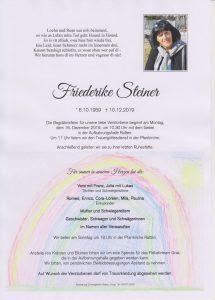 Parte Friederike Steiner Archiv Trauerfälle Bestattung Schweighofer