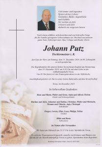 Parte Johann Putz Archiv Trauerfälle Bestattung Schweighofer