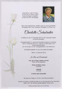 Parte Charlotte Schabreiter Archiv Trauerfälle Bestattung Schweighofer
