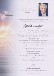 Parte Gisela Lueger Archiv Trauerfälle Bestattung Schweighofer