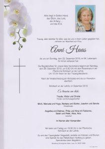 Parte Anni Haas Archiv Trauerfälle Bestattung Schweighofer