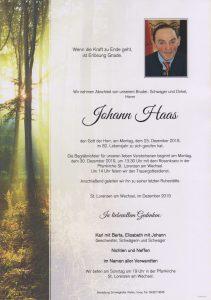 Parte Johann Haas Archiv Trauerfälle Bestattung Schweighofer