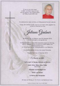 Parte Juliana Grabner Archiv Trauerfälle Bestattung Schweighofer