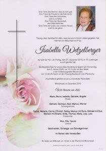 Parte Isabella Wetzelberger Archiv Trauerfälle Bestattung Schweighofer