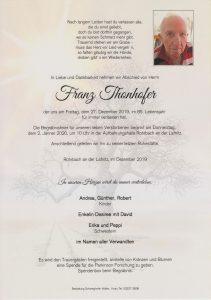 Parte Franz Thonhofer Archiv Trauerfälle Bestattung Schweighofer