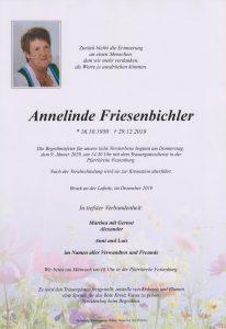 Parte Annelinde Friesenbichler Archiv Trauerfälle Bestattung Schweighofer