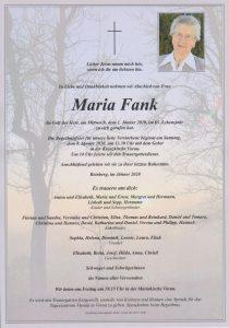 Parte Maria Fank Archiv Trauerfälle Bestattung Schweighofer