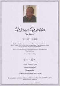 Parte Werner Winkler Archiv Trauerfälle Bestattung Schweighofer
