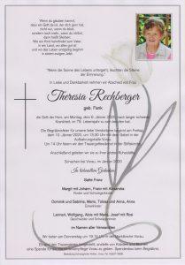 Parte Theresia Rechberger Archiv Trauerfälle Bestattung Schweighofer