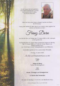 Parte Franz Dorn Archiv Trauerfälle Bestattung Schweighofer