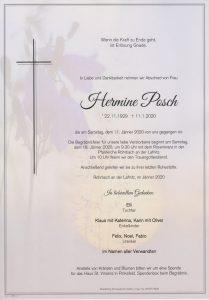 Parte Hermine Posch Archiv Trauerfälle Bestattung Schweighofer