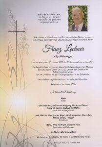 Parte Franz Lechner Archiv Trauerfälle Bestattung Schweighofer