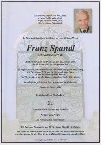 Parte Franz Spandl Archiv Trauerfälle Bestattung Schweighofer