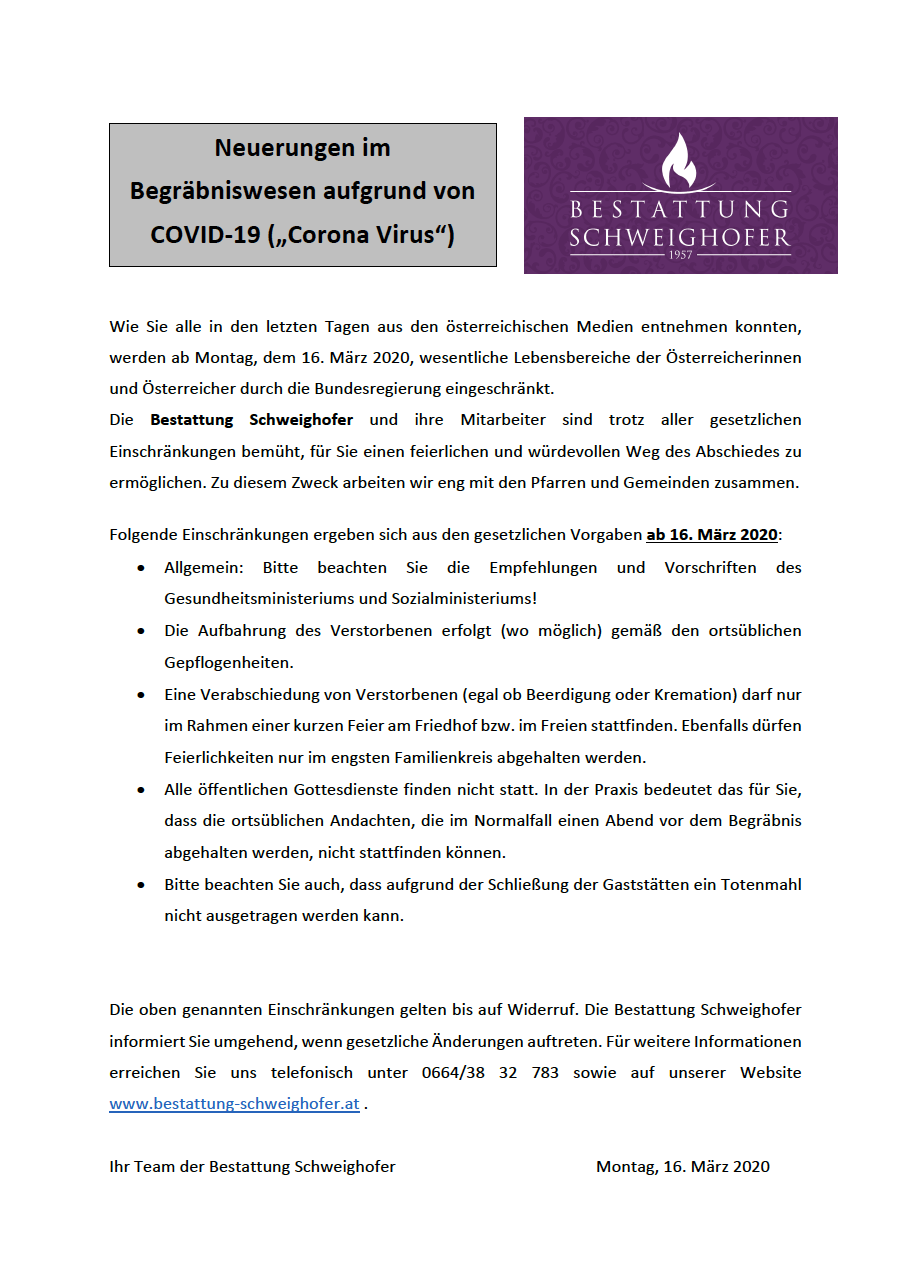 "Informationen zu COVID-19 (""Corona Virus"")"